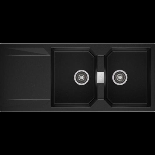 KRONOS 200 kétmedencés csepegtetőtálcás gránit mosogató automata dugóemelő, szifonnal, fekete-szemcsés