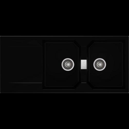 KRONOS 200 kétmedencés csepegtetőtálcás gránit mosogató automata dugóemelő, szifonnal, fekete