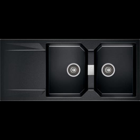 KRONOS 200 kétmedencés csepegtetőtálcás gránit mosogató automata dugóemelő, szifonnal, fekete-szemcsés fényes