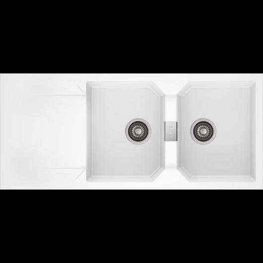 KRONOS 200 kétmedencés csepegtetőtálcás gránit mosogató automata dugóemelő, szifonnal, fehér
