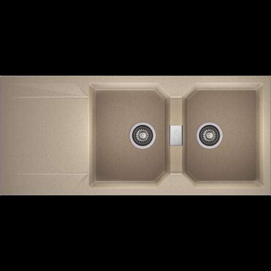 KRONOS 200 kétmedencés csepegtetőtálcás gránit mosogató automata dugóemelő, szifonnal, bézs
