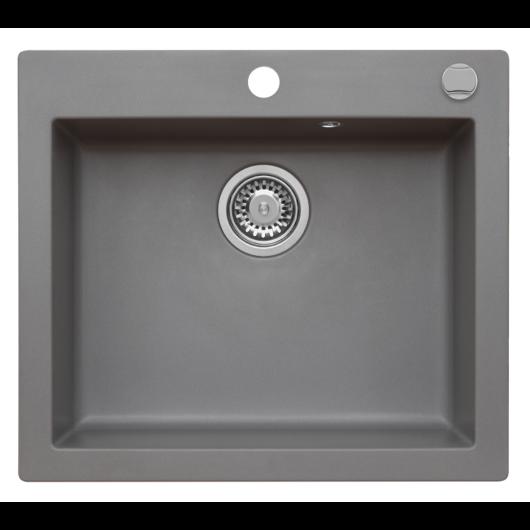 MOJITO 60 egymedencés gránit mosogató automata dugóemelő, szifonnal, szürke