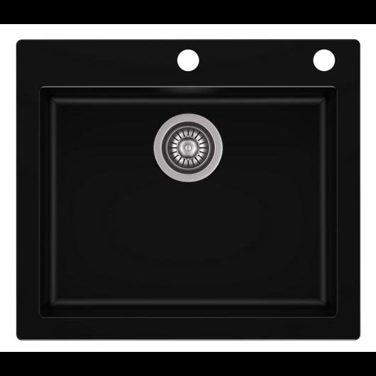 MOJITO 60 egymedencés gránit mosogató automata dugóemelő, szifonnal, fekete