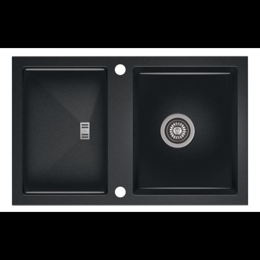 SLIDE 40 egymedencés gránit mosogató csepptálcával, automata dugóemelő, szifonkészlet, fekete-szemcsés fényes