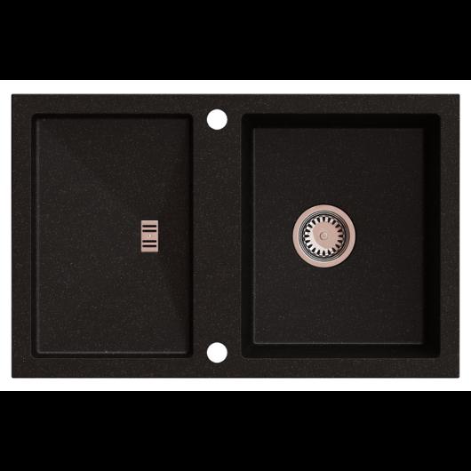 SLIDE 40 egymedencés gránit mosogató csepptálcával, automata dugóemelő, szifonkészlet, fekete-szemcsés