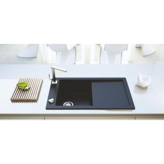 TRAMONTANA egymedencés gránit mosogató csepptálcával, automata dugóemelő, szifonkészlet, fekete-szemcsés