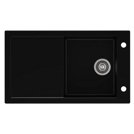 TRAMONTANA egymedencés gránit mosogató csepptálcával, automata dugóemelő, szifonkészlet, fekete