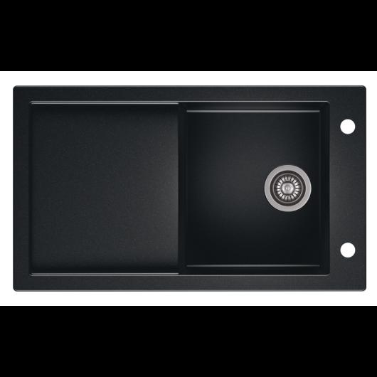 TRAMONTANA egymedencés gránit mosogató csepptálcával, automata dugóemelő, szifonkészlet, fekete-szemcsés fényes