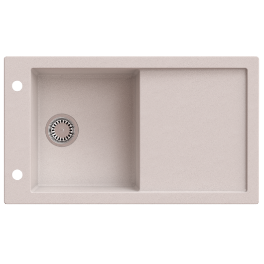 TRAMONTANA egymedencés gránit mosogató csepptálcával, automata dugóemelő, szifonkészlet, bézs
