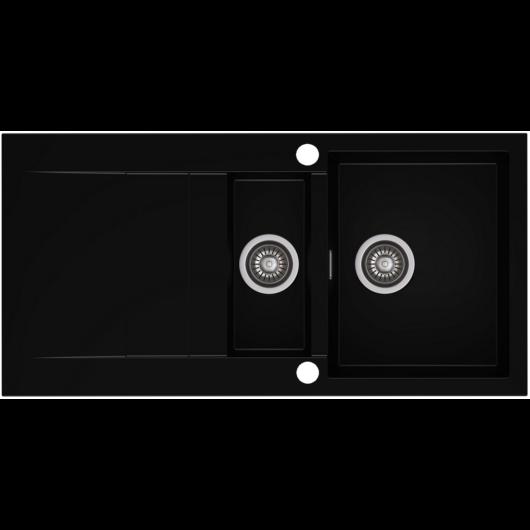 CASCADA 150 gyümölcsmosós gránit mosogató automata dugóemelő, szifonnal, fekete
