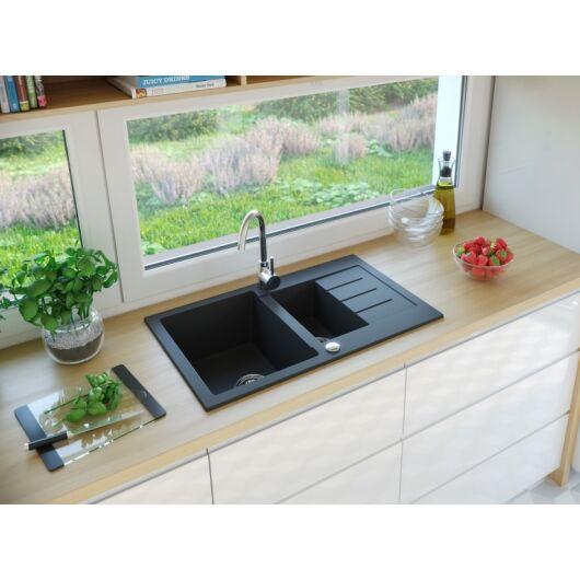AVIGNON gyümölcsmosós gránit mosogató automata dugóemelő, szifonnal, fekete-szemcsés