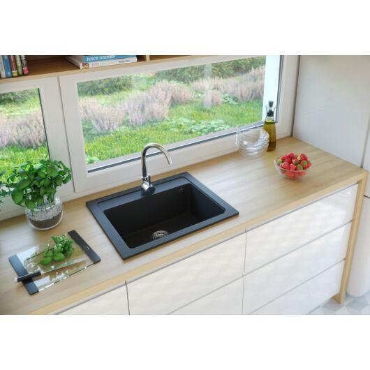 NIZZA egymedencés gránit mosogató automata dugóemelő, szifonnal, fekete-szemcsés