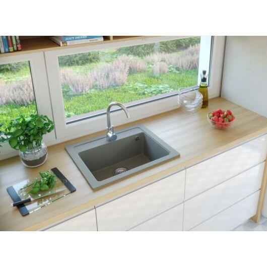NIZZA egymedencés gránit mosogató automata dugóemelő, szifonnal, szürke