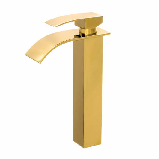 Elva magasított fürdőszobai mosdó csaptelep vízesés alakú vízsugárral arany