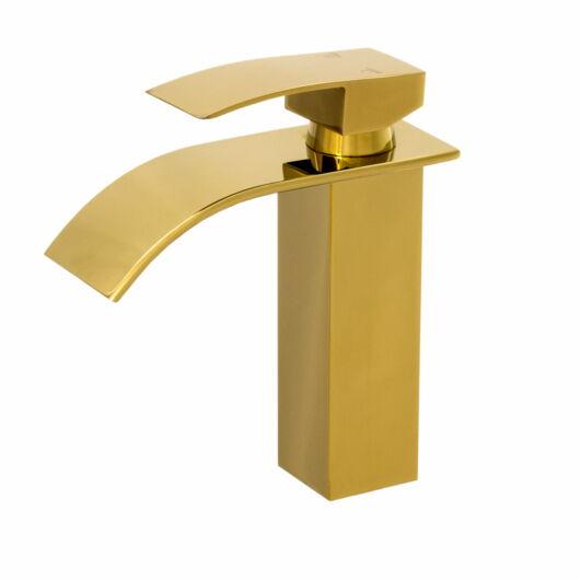 Elva fürdőszobai mosdó csaptelep vízesés alakú vízsugárral arany