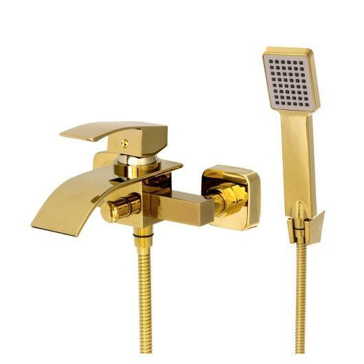 Elva kádtöltő fürdőszobai csaptelep vízesés alakú vízsugárral arany