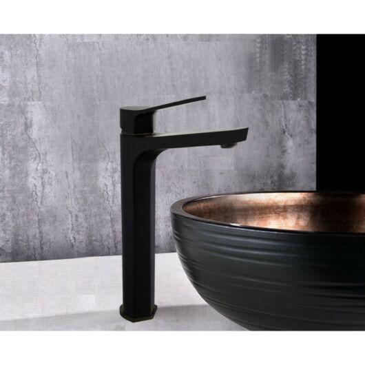 Lerma magasított fürdőszobai mosdó csaptelep fekete
