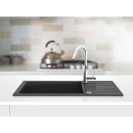 Retto Med egymedencés gránit mosogató csepptálcával automata dugóemelővel, szifonnal, fekete