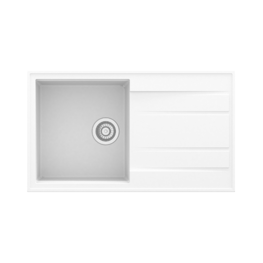 Retto Long egymedencés gránit mosogató csepptálcával automata dugóemelővel, szifonnal, fehér
