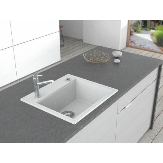 Retto Start egymedencés gránit mosogató automata dugóemelővel, szifonnal, fehér