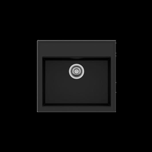 Retto Start egymedencés gránit mosogató automata dugóemelővel, szifonnal, fekete