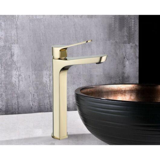 Lerma magasított fürdőszobai mosdó csaptelep arany