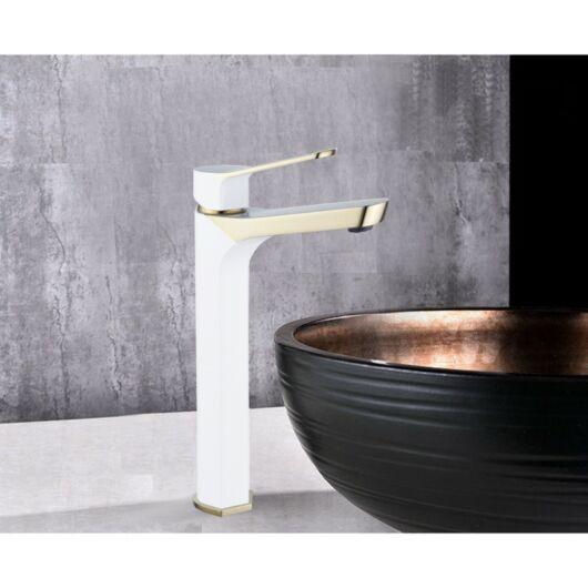 Lerma magasított fürdőszobai mosdó csaptelep fehér-arany