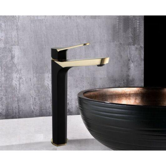 Lerma magasított fürdőszobai mosdó csaptelep fekete-arany