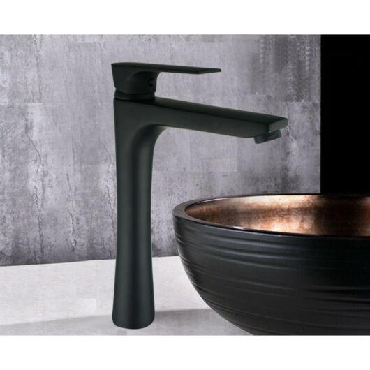 Axel magasított fürdőszobai mosdó csaptelep fekete