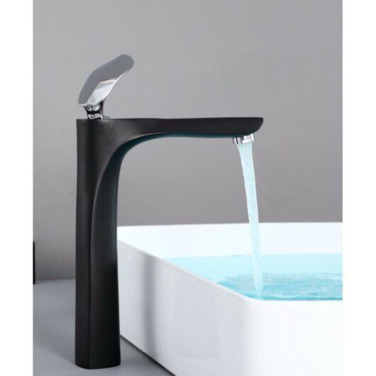 Lily magasított fürdőszobai mosdó csaptelep fekete-króm
