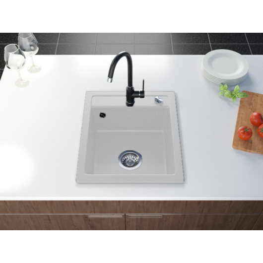 Start Don egymedencés gránit mosogató automata dugóemelő, szifonnal, fehér