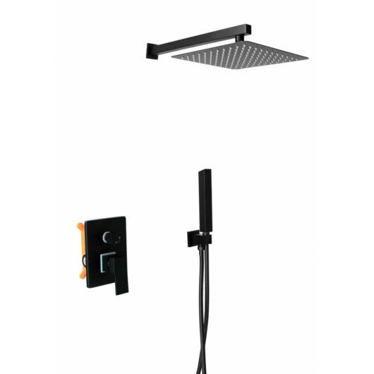 Zen6 fürdőszobai zuhanyszett beépíthető fali keverőcsappal és esőztető zuhanyfejjel fekete