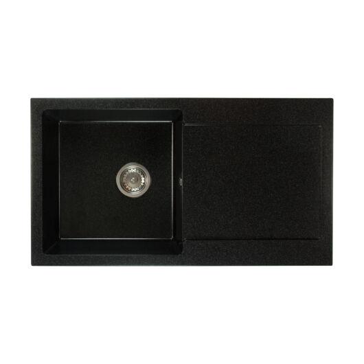 Alex mosogató szett 3 féle választható csapteleppel (Beta, Move, Steel) szifonnal fekete-szemcsés színben