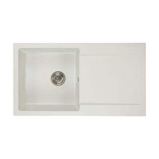 Alex mosogató szett 3 féle választható csapteleppel (Beta, Move, Steel) szifonnal fehér színben