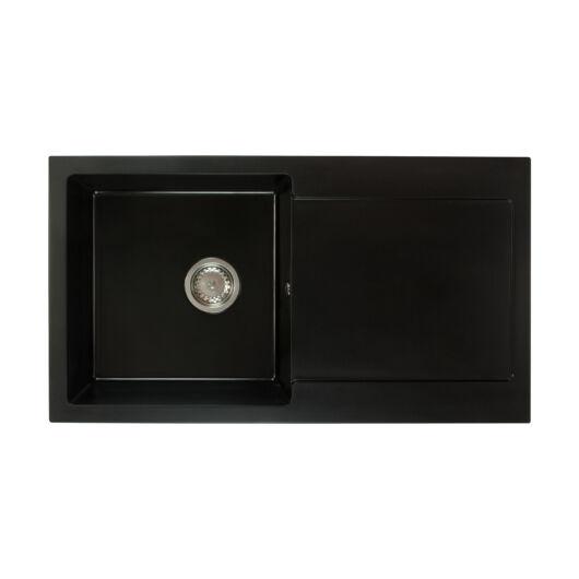Alex mosogató szett 3 féle választható csapteleppel (Beta, Move, Steel) automata szűrőkosaras leeresztővel, szifonnal fekete színben