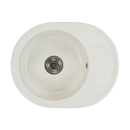 Bella kerek gránit mosogató szifonnal fehér