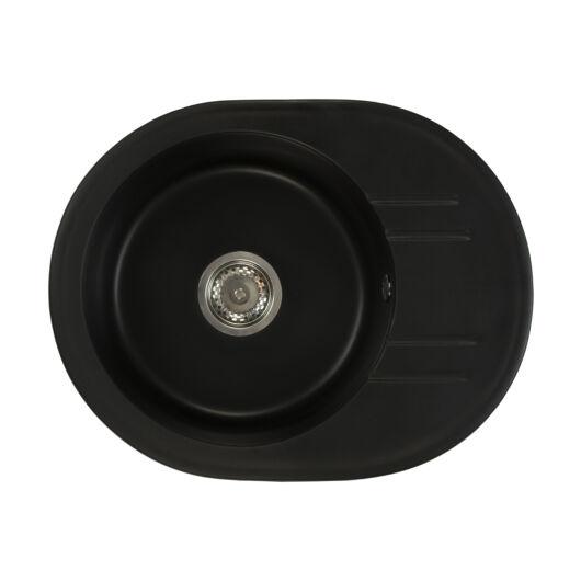 Bella kerek gránit mosogató szifonnal fekete
