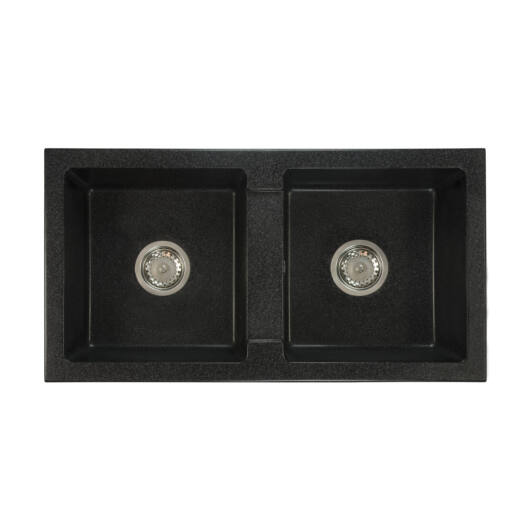 Borys kétmedencés gránit mosogató szett 3 féle választható csapteleppel (Beta, Move, Steel) szifonnal fekete-szemcsés színben