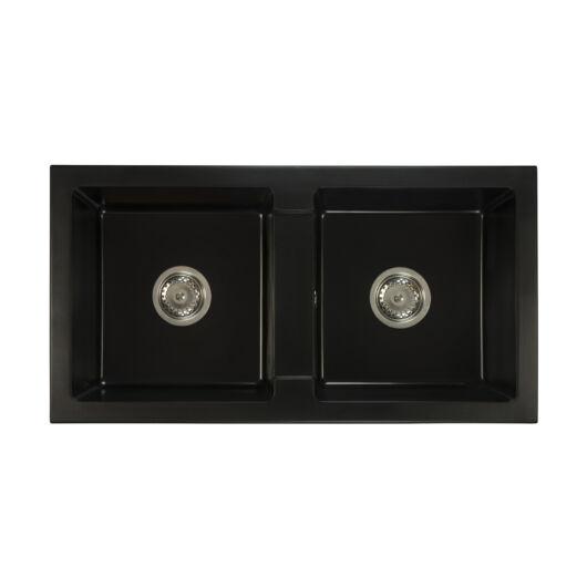 Borys kétmedences gránit mosogató szett 3 féle választható csapteleppel (Beta, Move, Steel) szifonnal fekete színben