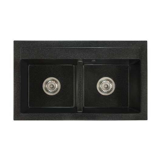 Franek mosogató szett 3 féle választható csapteleppel (Beta, Move, Steel) szifonnal fekete-szemcsés színben