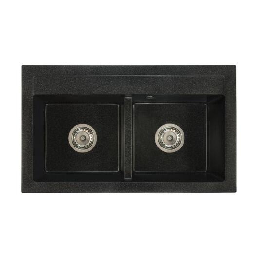Franek kétmedencés gránit mosogató szett 3 féle választható csapteleppel (Beta, Move, Steel) szifonnal fekete-szemcsés színben