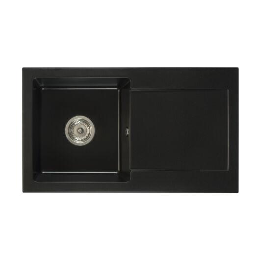 Leon2 egymedencés gránit mosogató csepptálcával automata szűrőkosaras leeresztővel szifonnal fekete