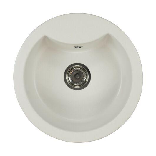 Mila kerek gránit mosogató szifonnal fehér
