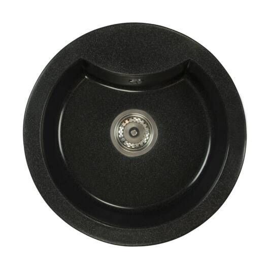 Mila kerek gránit mosogató szifonnal fekete-szemcsés