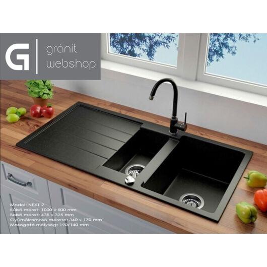 Next2 gyümölcsmosós gránit mosogató automata dugóemelő, szifonnal, fekete-szemcsés