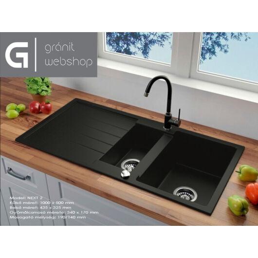 Next2 gyümölcsmosós gránit mosogató automata dugóemelő, szifonnal, fekete