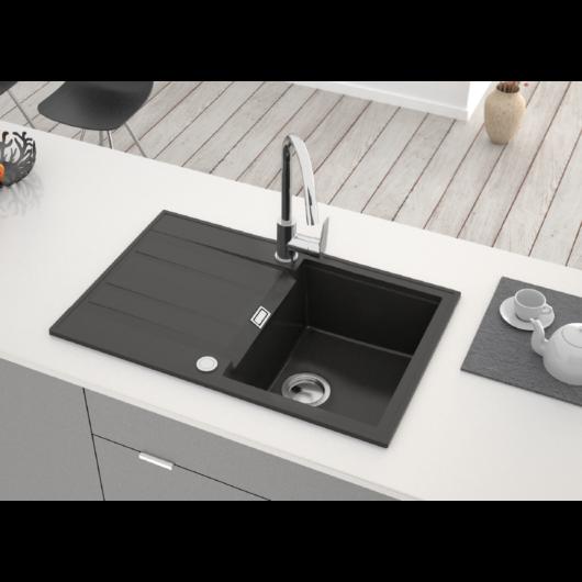 Ava Soul egymedencés gránit mosogató csepptálcával automata dugóemelővel, szifonnal, fekete