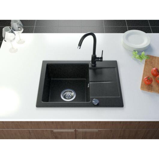Bef egymedencés gránit mosogató automata dugóemelő, szifonnal, fekete-szemcsés