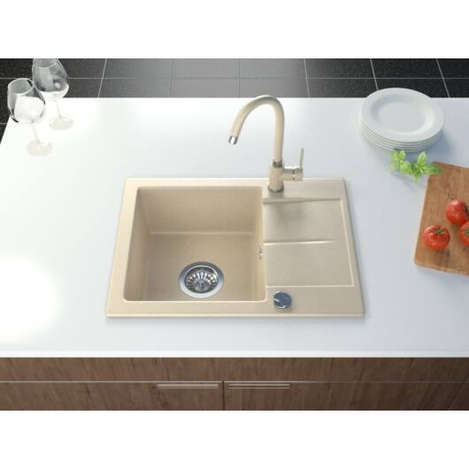 Bef egymedencés gránit mosogató csepptálcával automata dugóemelő, szifonnal, bézs-szemcsés