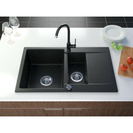 Como gyümölcsmosós gránit mosogató automata dugóemelő, szifonnal, fekete-szemcsés